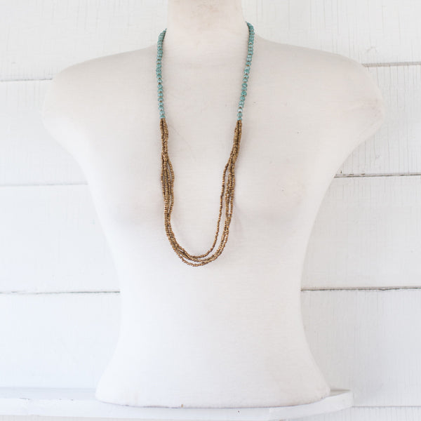Long Teal and Gold Necklace