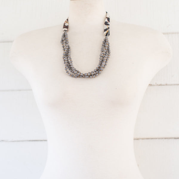 Grey Necklace with fabric tie