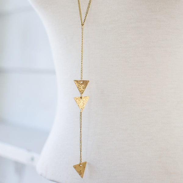 Long Brass Arrow Necklace