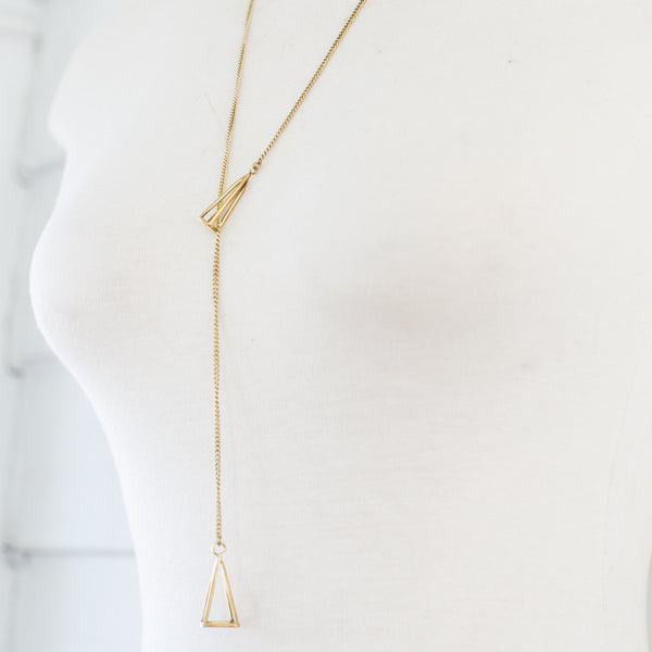 Brass Geometric Lariat Necklace