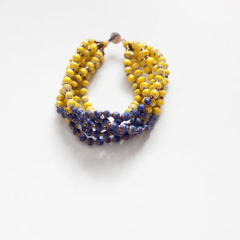 Yellow and Blue Paper Bead Bracelet