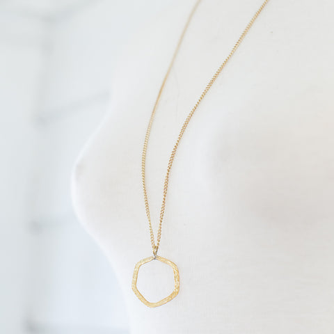 Brass Long Hexagon Necklace