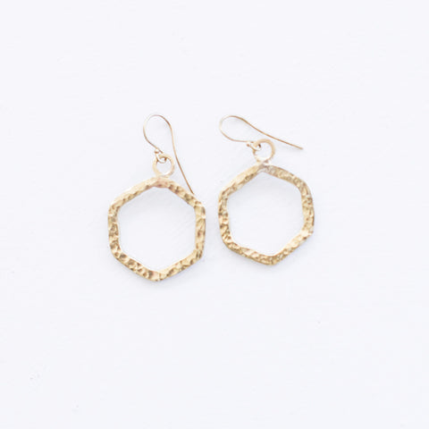 Hammered Brass Hexagon Earrings