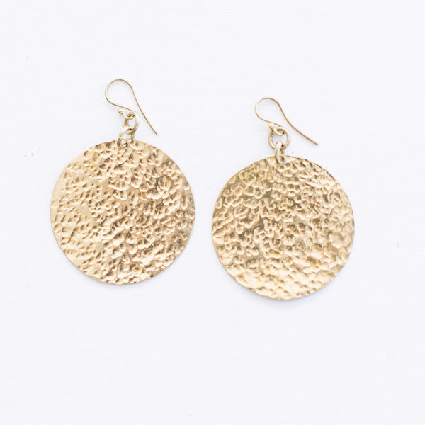Large Hammered Brass Earrings