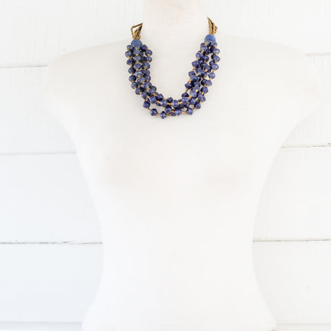 Royal Blue Paper Bead Necklace