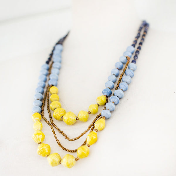 Layered Blue and Yellow Necklace