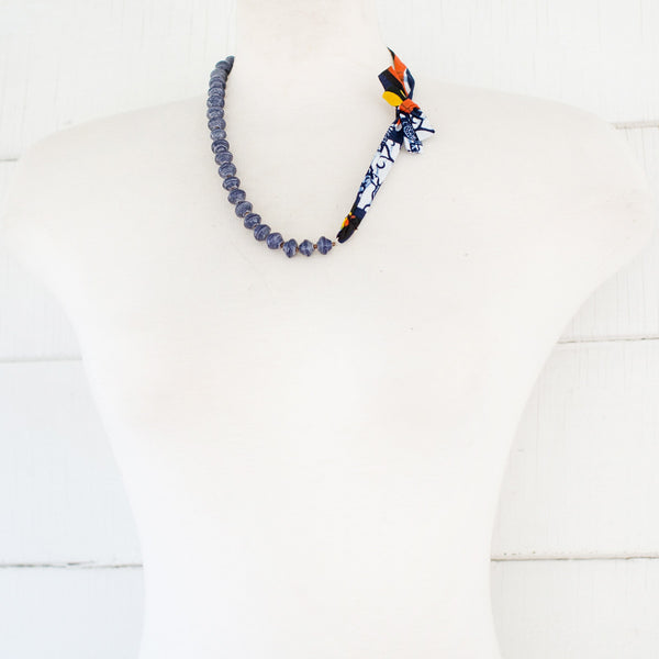 Blue Necklace with fabric tie