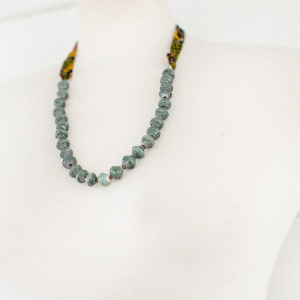 Green Necklace with fabric tie