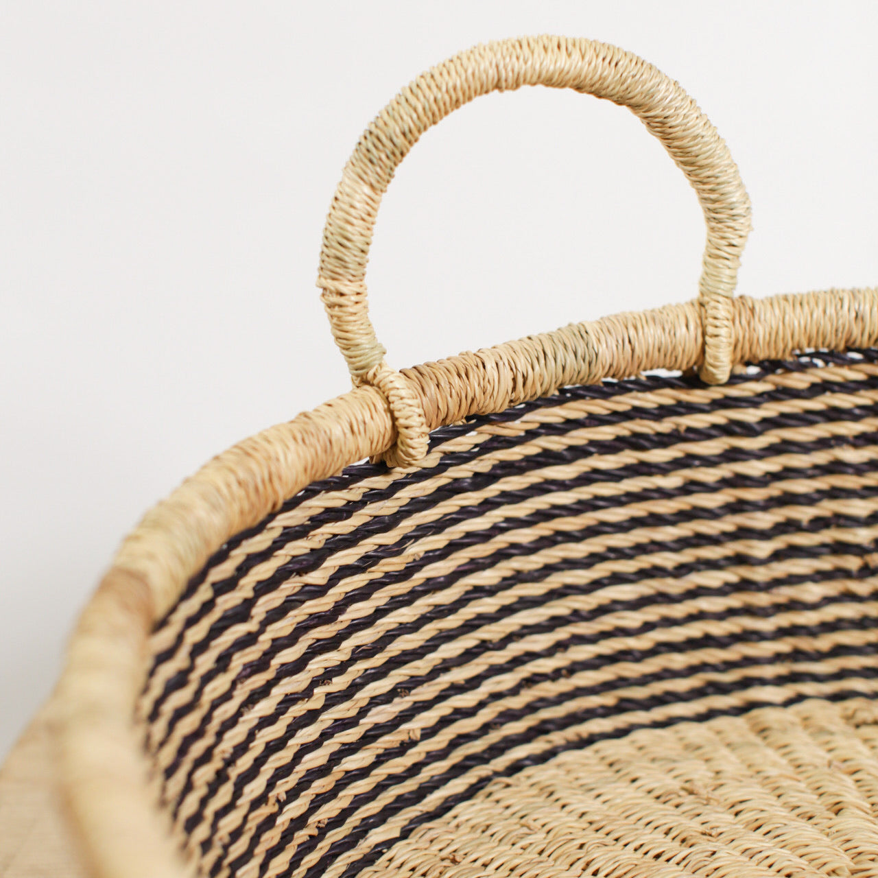Small Striped Drum Basket - Natural