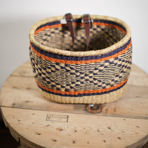 Bicycle Basket - natural with black and orange
