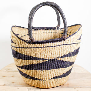 Shopping Basket - Natural with Black