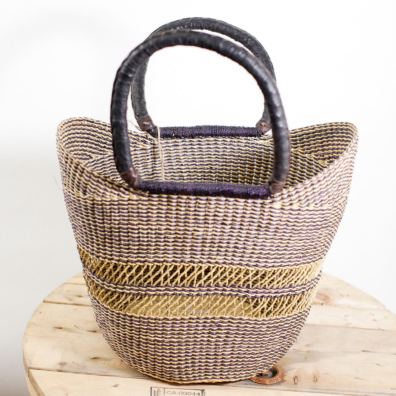 Shopping Basket - Black with woven center