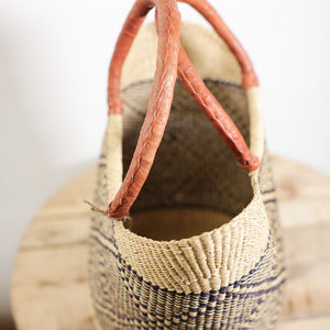 Shopping Basket - Natural with Black Center