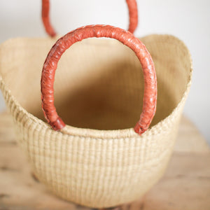 Shopping Basket - natural with brown leather handles