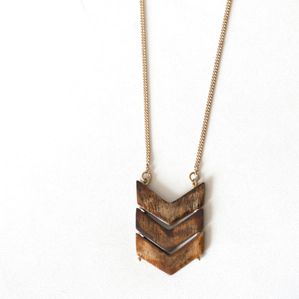 Brown Chevron Necklace