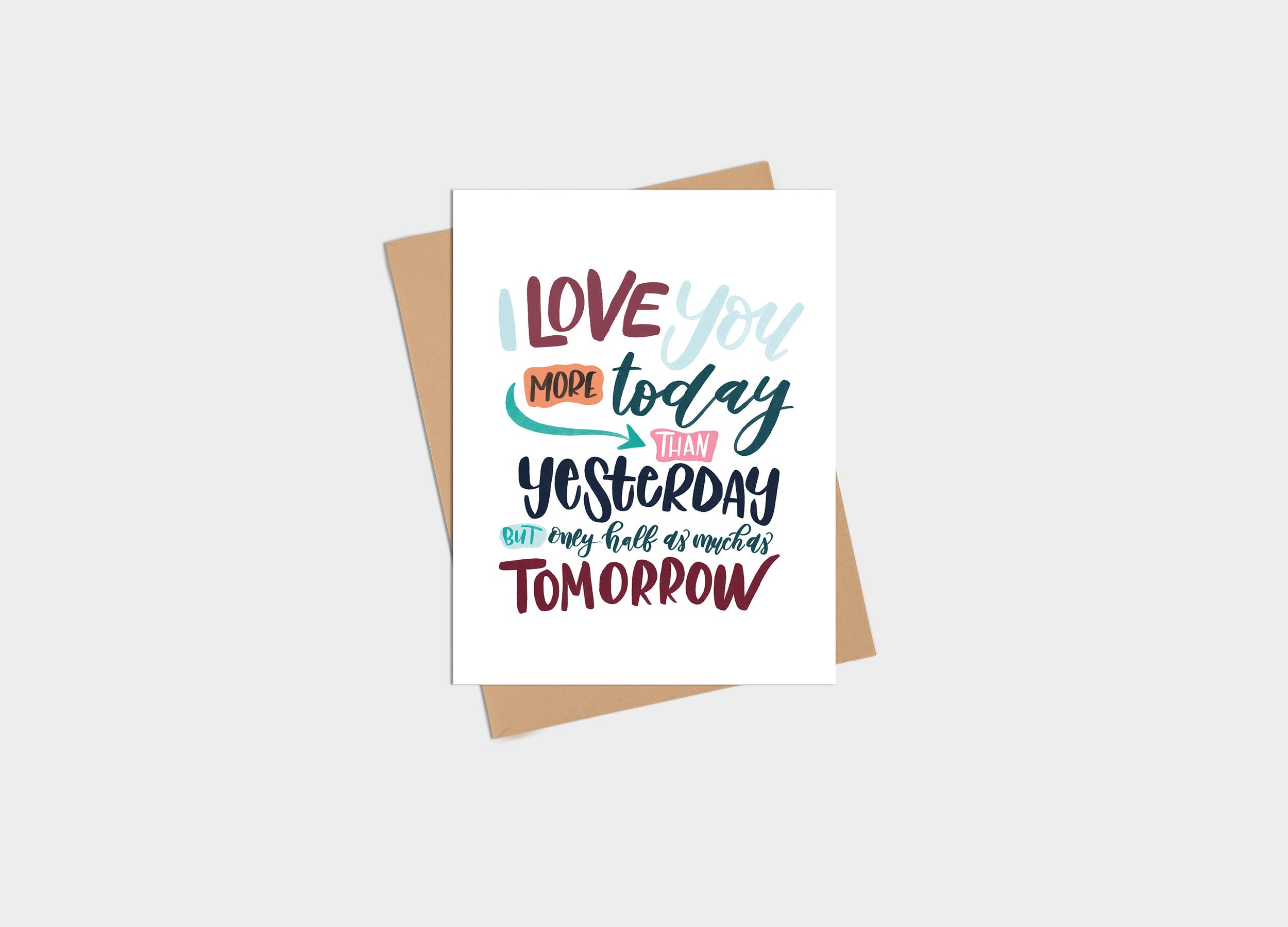 Card - Anniversary - Love You More than Yesterday