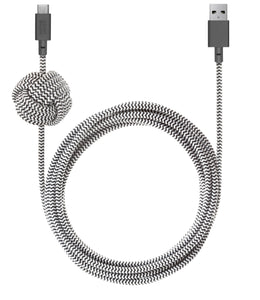 Native Union Charge/Sync USB-C Night Cable 10ft Zebra