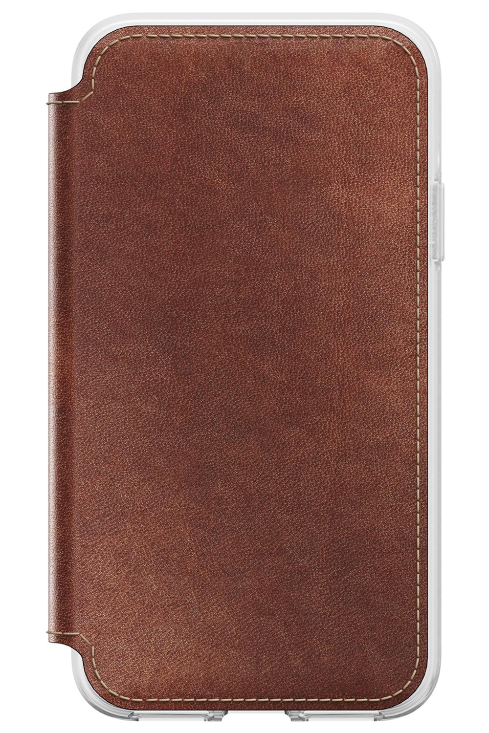 Nomad Leather Folio Clear Case Brown for iPhone X