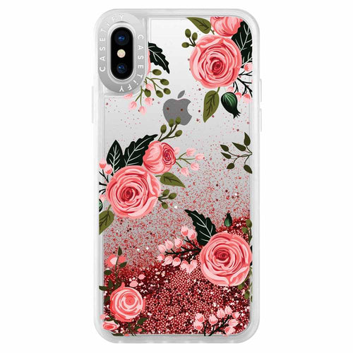 Casetify Glitter Case Pink Roses (Pink) for iPhone XS/X