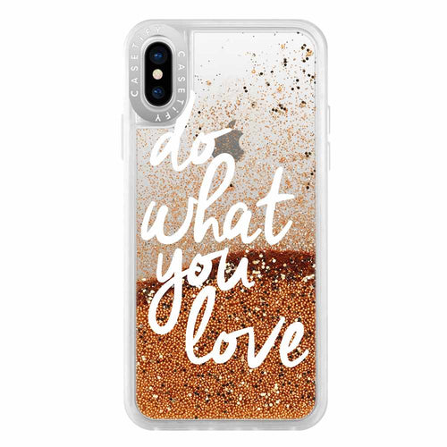 Casetify Glitter Case Do What You Love (Gold) for iPhone XS/X