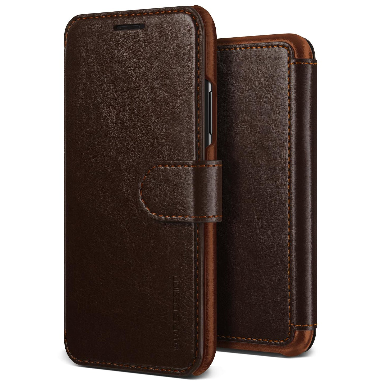 Vrs Design Layered Dandy Folio Case Dark Brown for iPhone XR