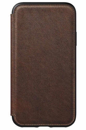 Nomad Rugged Leather Folio Case Rustic Brown for iPhone XS/X