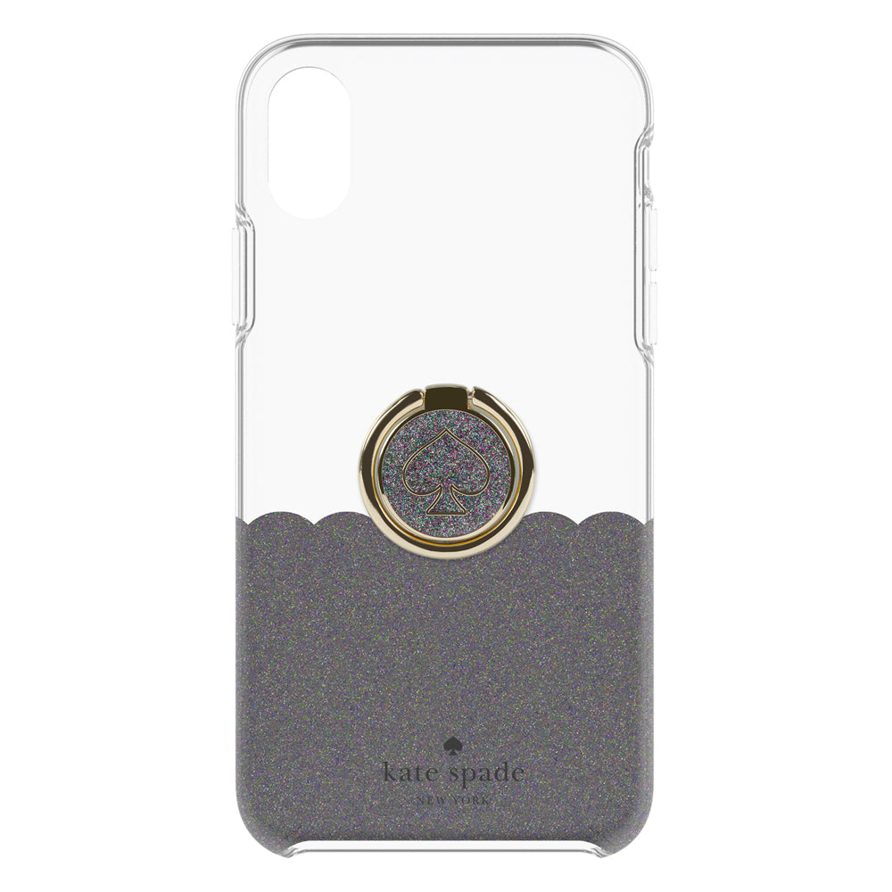 Kate Spade Gift Set: Ring Stand Protective Hardshell Case Scallop Black Glitter for iPhoneXS Max