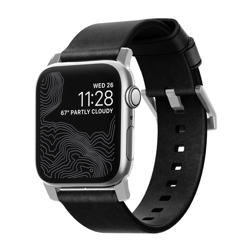 Nomad Modern Leather Band Black with Silver Hardware for Apple Watch 44/42mm