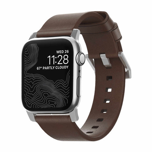 Nomad Modern Leather Band Rustic Brown with Silver Hardware for Apple Watch 44/42mm