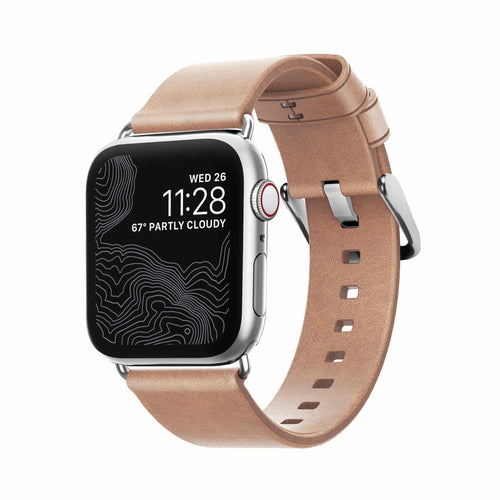Nomad Modern Leather Slim Band Natural with Silver Hardware for Apple Watch 40/38mm