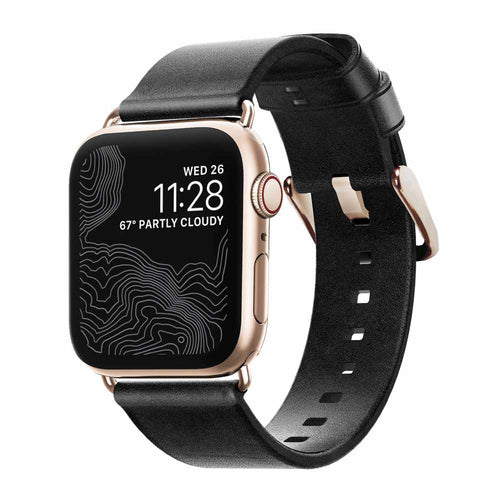 Nomad Modern Leather Slim Band Black with Black Hardware for Apple Watch 40/38mm