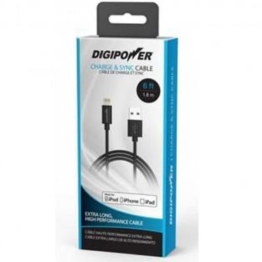 Digipower Charge & Sync Cable Lightning 6ft Black MFI
