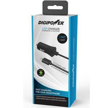 Digipower Car Charger 1amp w/Micro USB Connector 5ft