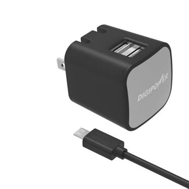 DigiPower Car Charger 2.4amp InstaSense 2 Port with 5ft Micro Cable (Car Charger)