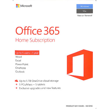 Microsoft Office 365 Home Premium Medialess 5-User 1Yr