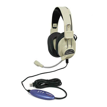HamiltonBuhl Headset Over Ear Deluxe Stereo w/Gneck Mic USB