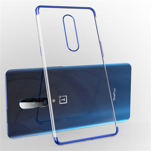 USLION Electroplate Soft Clear Phone Case for Oneplus 7 7 Pro TPU Silicone Plating Case for One Plus 6T 6 5 5T Shockproof Cover