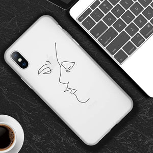 Lovebay For iPhone 11 Pro Max 6 6s 7 8 Plus X XR XS Max 5 5s SE Phone Case Cartoon Statue Abstract Art Painted Soft TPU Shell
