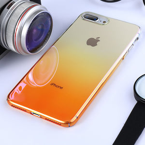 Blue-ray Gradient Clear Phone Case For iPhone 11 8 7 6 6s Plus Transparent Hard PC Back Cover For iPhone XS MAX XR X Coque capa