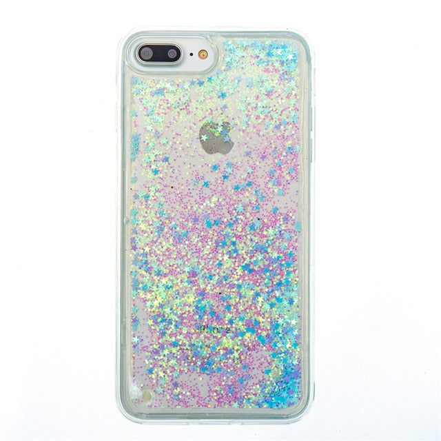 CHANYAOZY Case For iPhone 5 5S SE 6 6S 7 8 Plus 5C 4S Love Heart Star Glitter Dynamic Liquid Quicksand Soft TPU Phone Back Cover