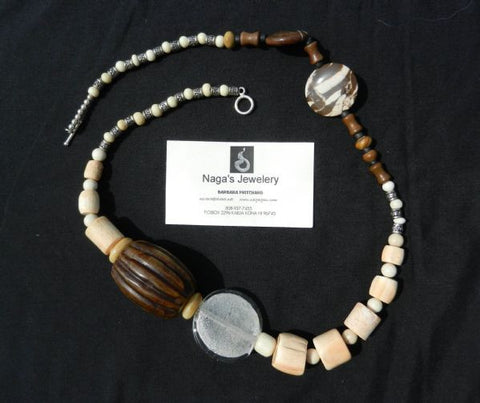 Necklace of  agate, white coral, bone, jade, silver and beach glass