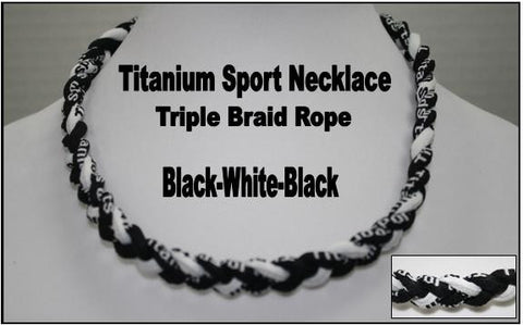 "20"" Titanium Sport Necklace (Black/White/Black)"