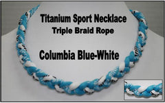 "20"" Titanium Sport Necklace (Columbia Blue/ White)"