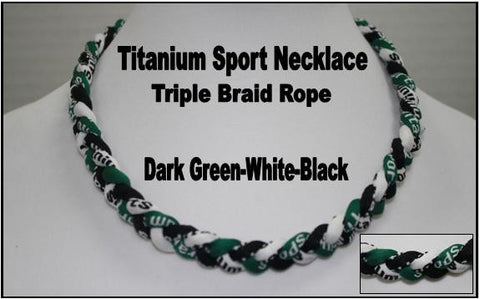 "20"" Titanium Sport Necklace (Dark Green/White/Black)"