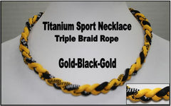 "20"" Titanium Sport Necklace (Gold/Black/Gold)"