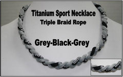 "20"" Titanium Sport Necklace (Grey/Black/Grey)"