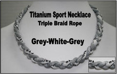 "20"" Titanium Sport Necklace (Grey/White/Grey)"