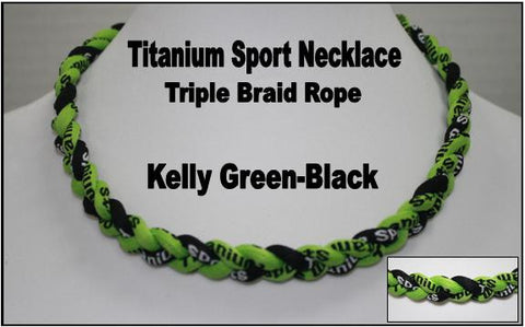 "20"" Titanium Sport Necklace (Kelly Green/Black/Kelly Green)"
