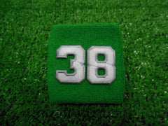 Kelly (Bright) Green  -  Wristbands with White Embroidered Numbers