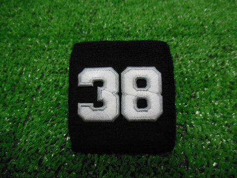 Black  -  Wristbands with White Embroidered Numbers